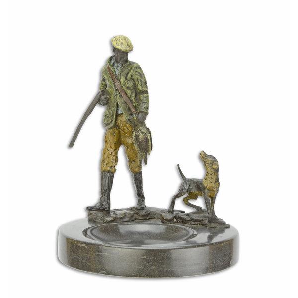 Marmeren asbak met jager en hond