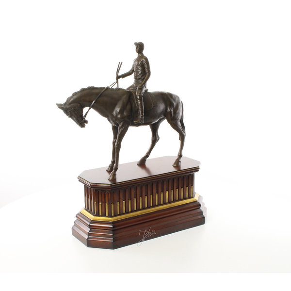 Bronze sculpture of jockey on racehorse