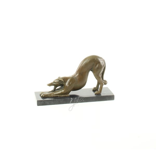 Bronze sculpture of a stretching Borzoi