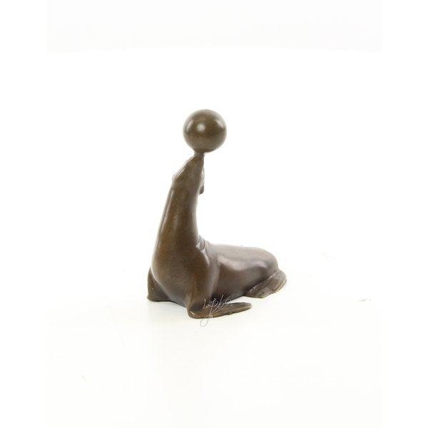 Sea-lion with ball Bronze sculpture of a sea-lion balancing a ball on it's nose