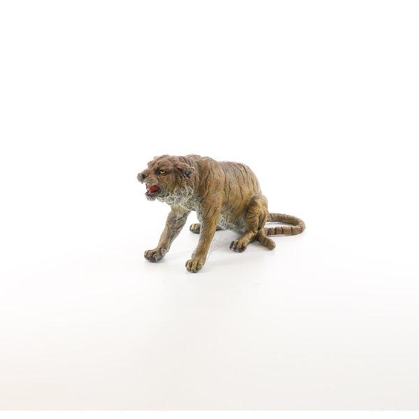 Bronzen sculptuur van een zittende tijger