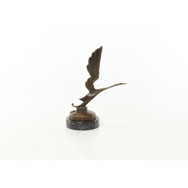 Bronzen sculptuur van een ooievaar auto mascotte