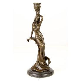 Bronze figural candlestick