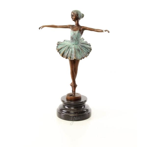 Koud beschilderd bronzen sculptuur van een  Ballerina