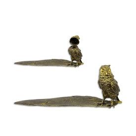 Bronzen uil inktpot