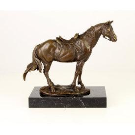 A saddled up horse