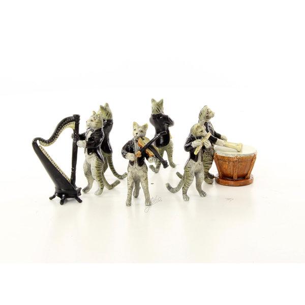 A set of six bronze cat musicians