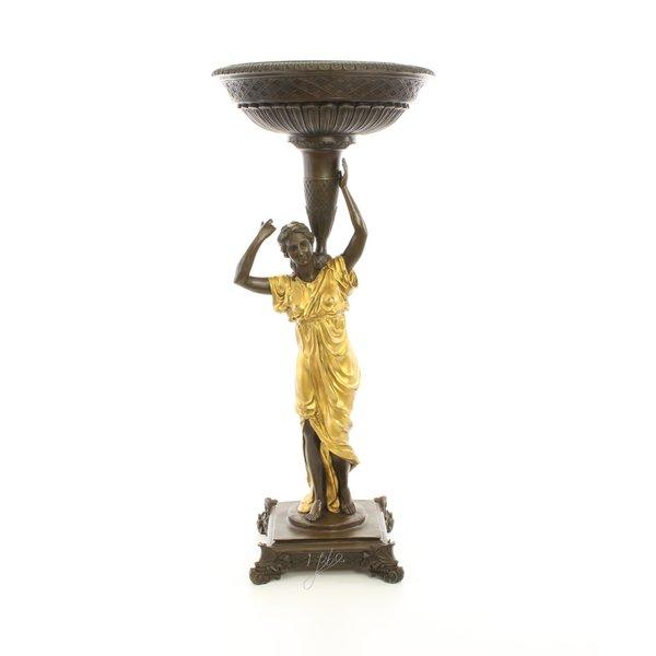 Figural bronze planter