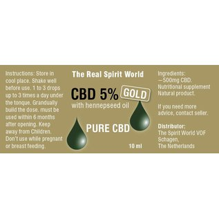 The Real Spirit World 10ml CBD olie 5% gold The Real Spirit World