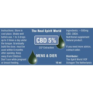 The Real Spirit World 10ml CBD olie Raw 5% The Real Spirit World