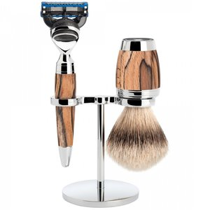 Muhle Scheerset Fusion Stylo Spalted Beech (3-delig)