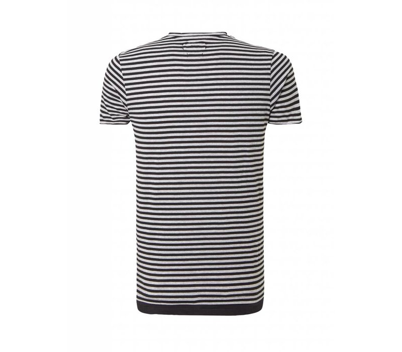 PUREWHITE  STRIPED T-SHIRT BLACK
