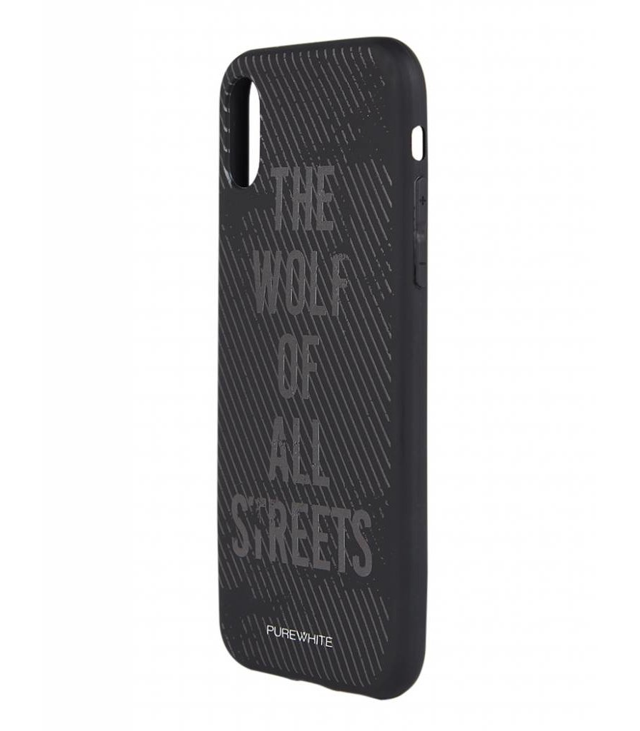 PUREWHITE 'WOLF OF ALL STREETS' IPHONE X CASE  BLACK