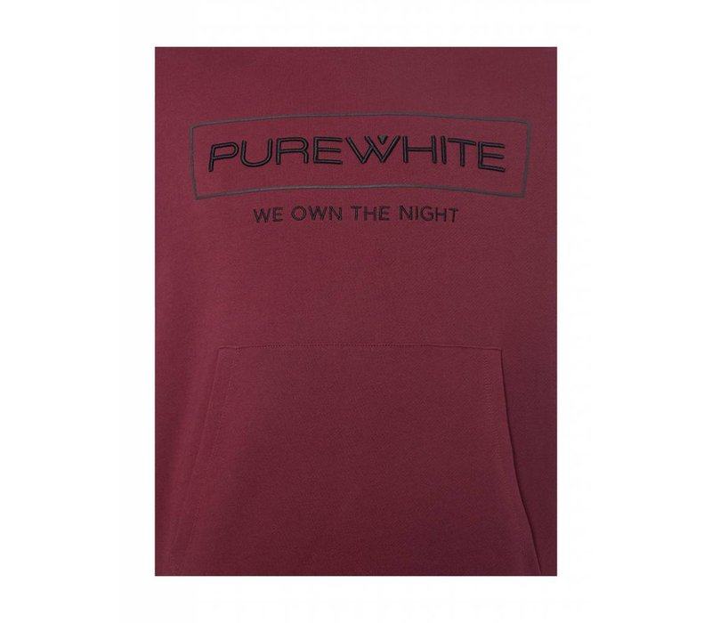 PUREWHITE 'WE OWN THE NIGHT' LOGO HOODIE BURGUNDY