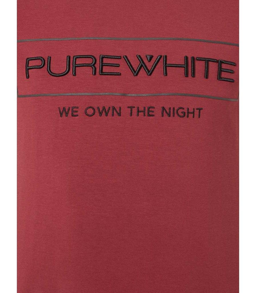 PUREWHITE 'WE OWN THE NIGHT' LOGO T-SHIRT BURGUNDY