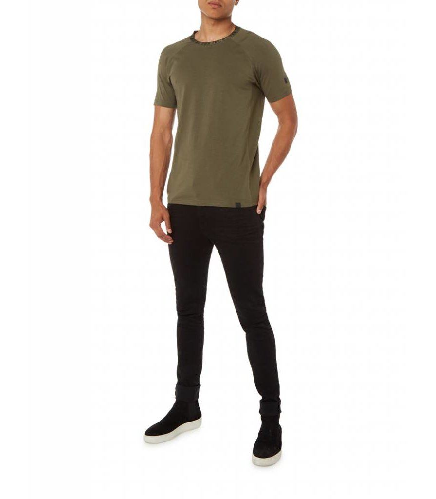 PUREWHITE PRINTED NECK T-SHIRT ARMY