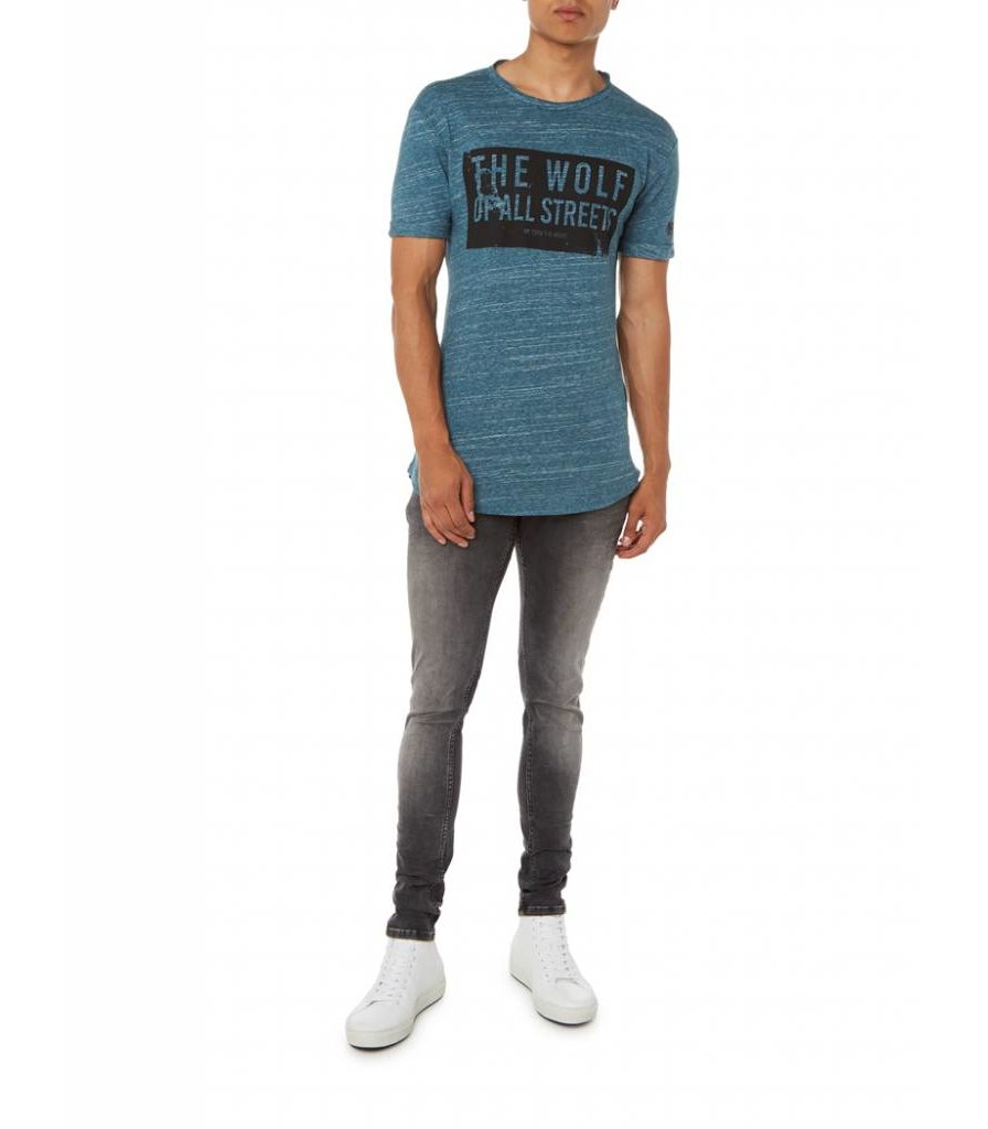 PUREWHITE 'WOLF OF ALL STREETS'  T-SHIRT BLUE