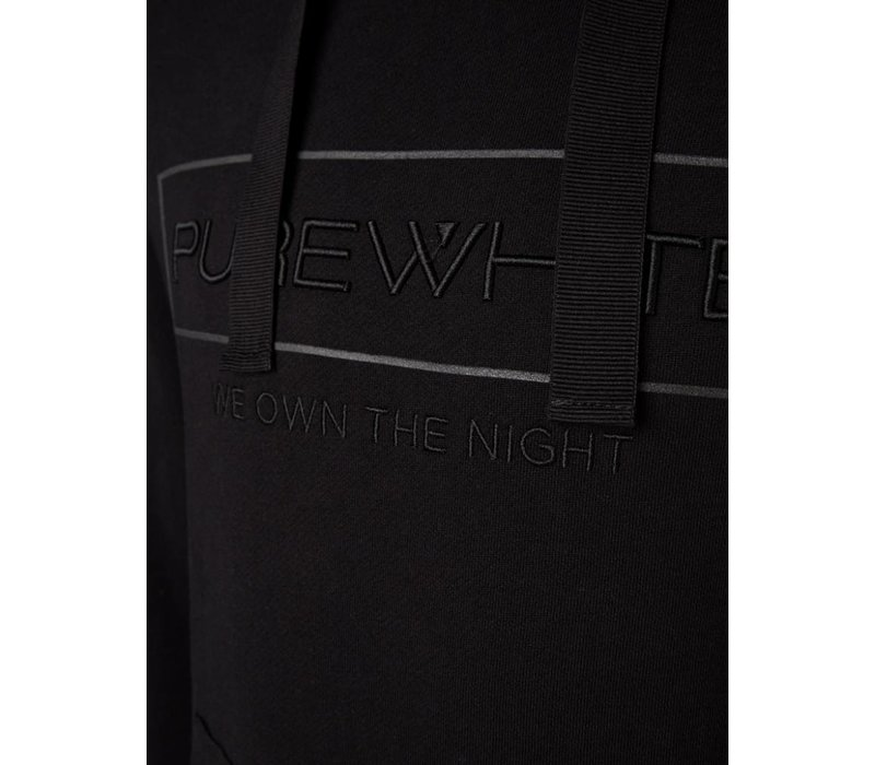 PUREWHITE 'WE OWN THE NIGHT' LOGO HOODIE BLACK