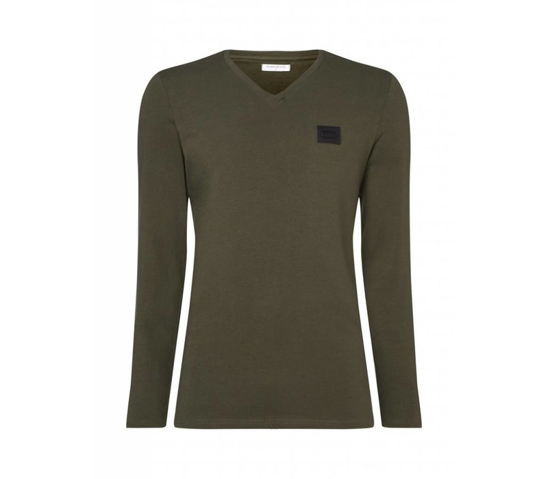 PUREWHITE ESSENTIAL V-NECK LONGSLEEVE DARK ARMY