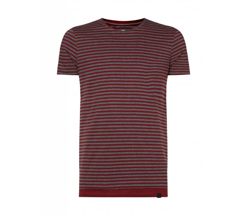 PUREWHITE  STRIPED T-SHIRT BURGUNDY