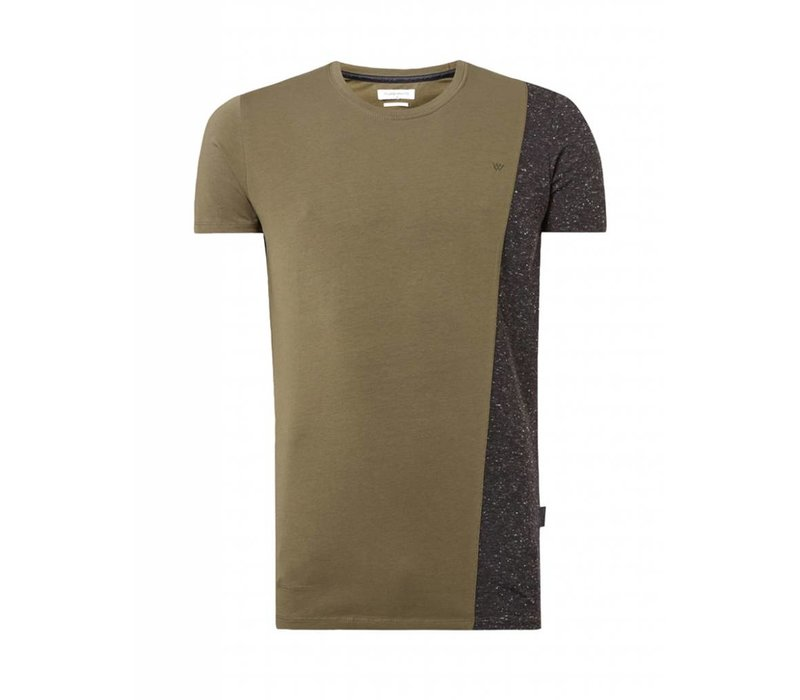 PUREWHITE TWO-TONE T-SHIRT ARMY/ANTRA