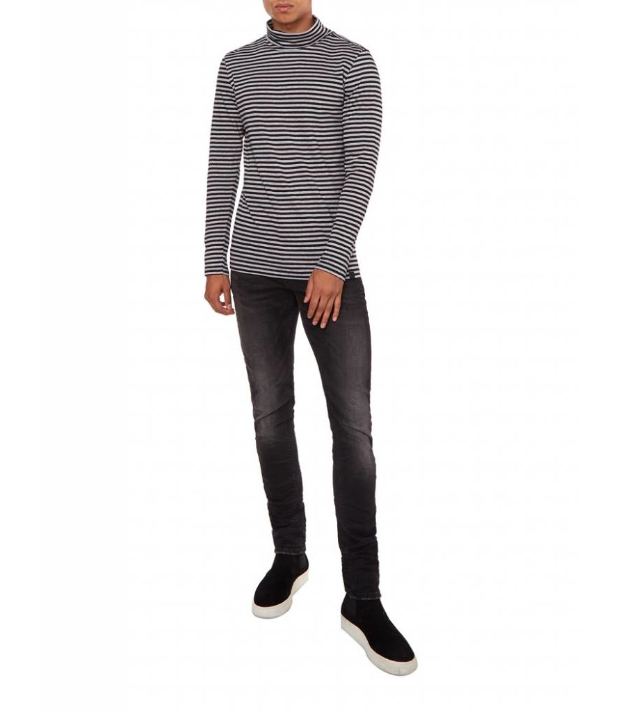 PUREWHITE STRIPED TURTLENECK BLACK & GREY