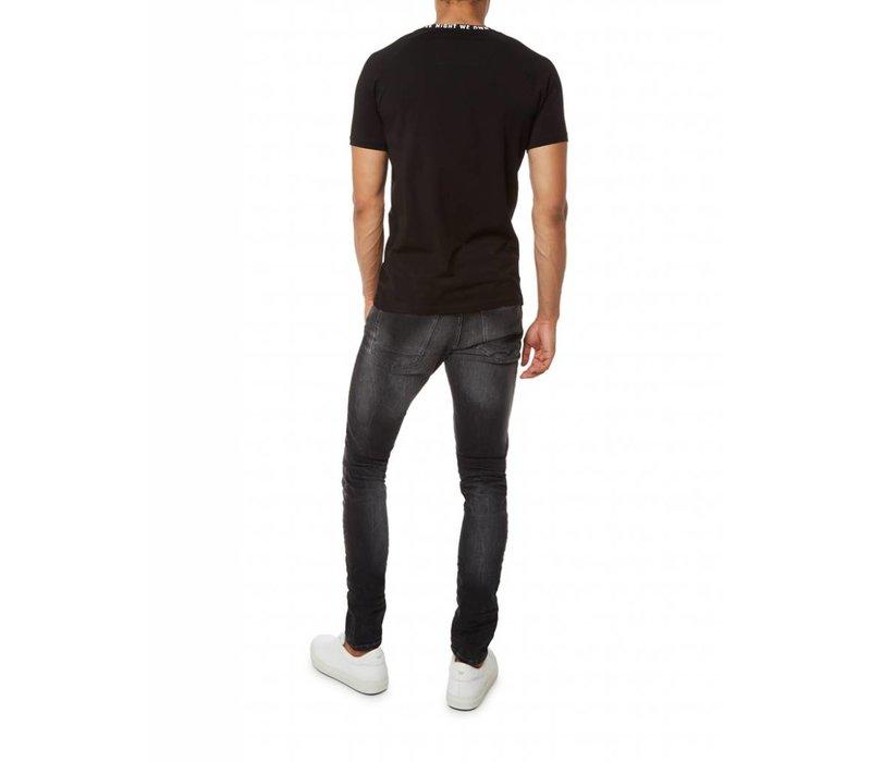 PUREWHITE PRINTED NECK T-SHIRT BLACK