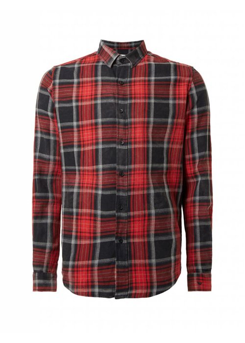 PUREWHITE WASHED PLAID SHIRT BRIGHT RED, WHITE & BLACK