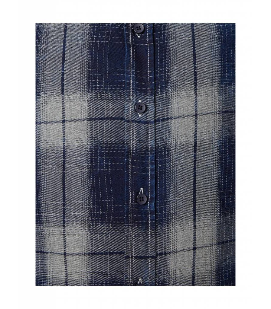 PUREWHITE WASHED PLAID SHIRT NAVY & GREY