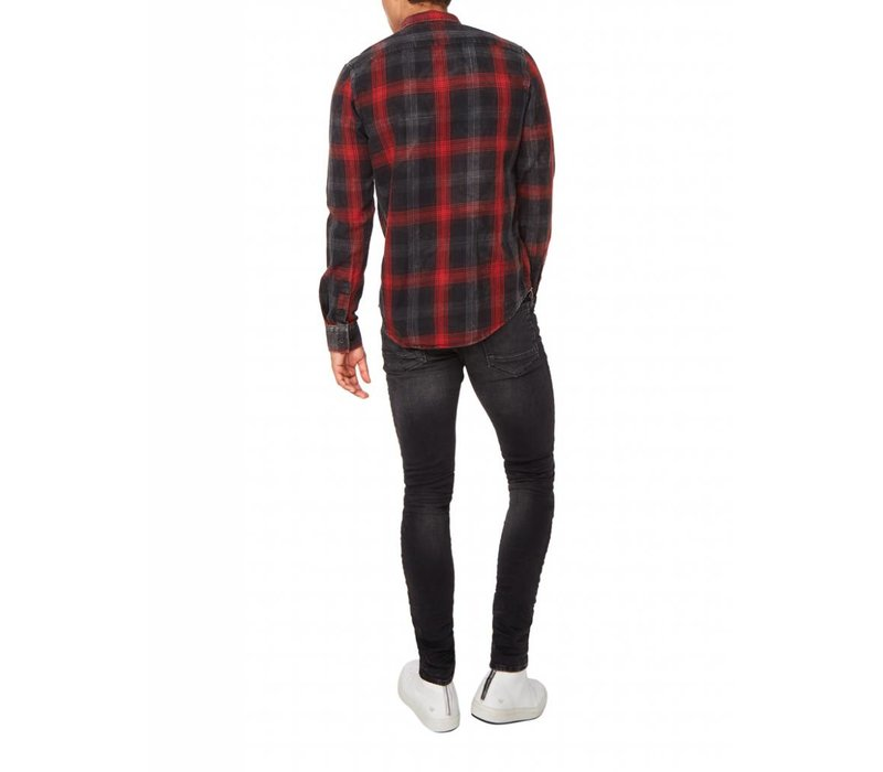 PUREWHITE WASHED PLAID SHIRT RED, GREY & BLACK