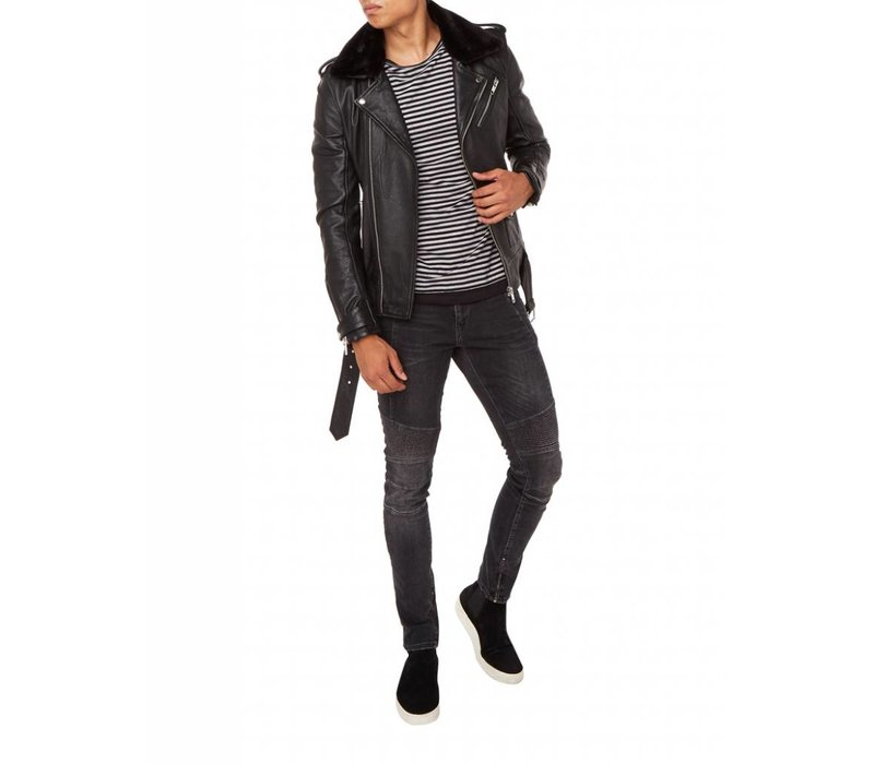 PUREWHITE LEATHER BIKER JACKET BLACK