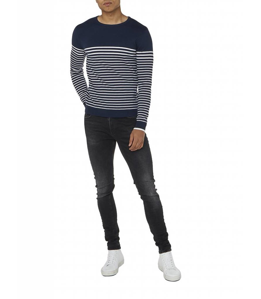 PUREWHITE STRIPED KNITTED CREWNECK NAVY