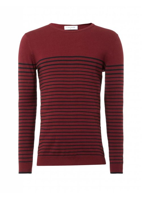 PUREWHITE STRIPED KNITTED CREWNECK BORDEAUX