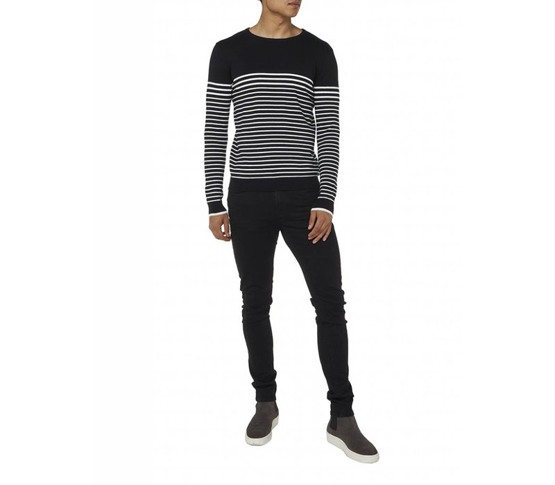 PUREWHITE STRIPED KNITTED CREWNECK BLACK