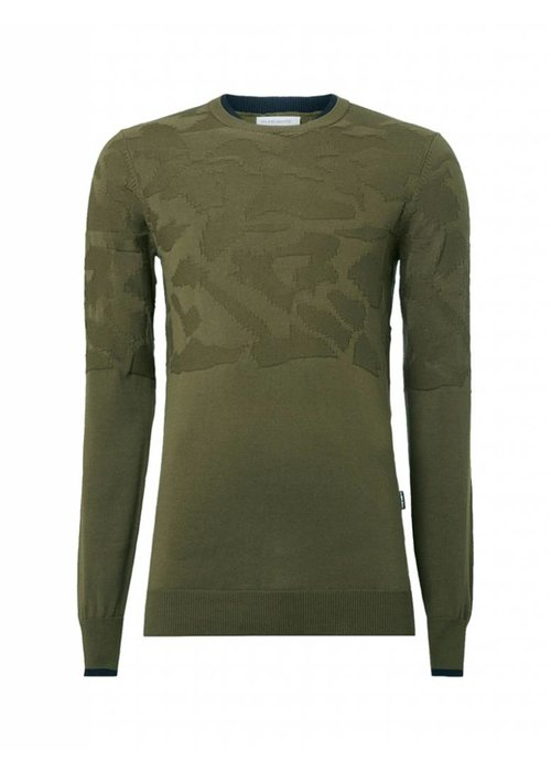 PUREWHITE KNITTED CAMOUFLAGE JACQUARD CREWNECK DARK ARMY