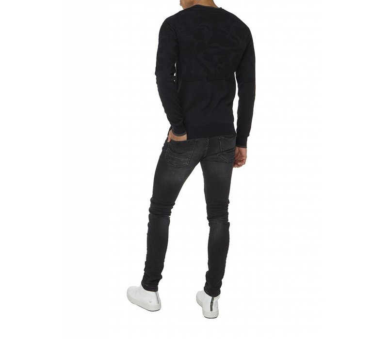 PUREWHITE KNITTED CAMOUFLAGE JACQUARD CREWNECK BLACK