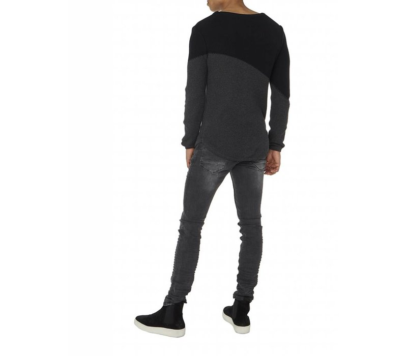PUREWHITE KNITTED CURVED TWO TONE CREWNECK BLACK