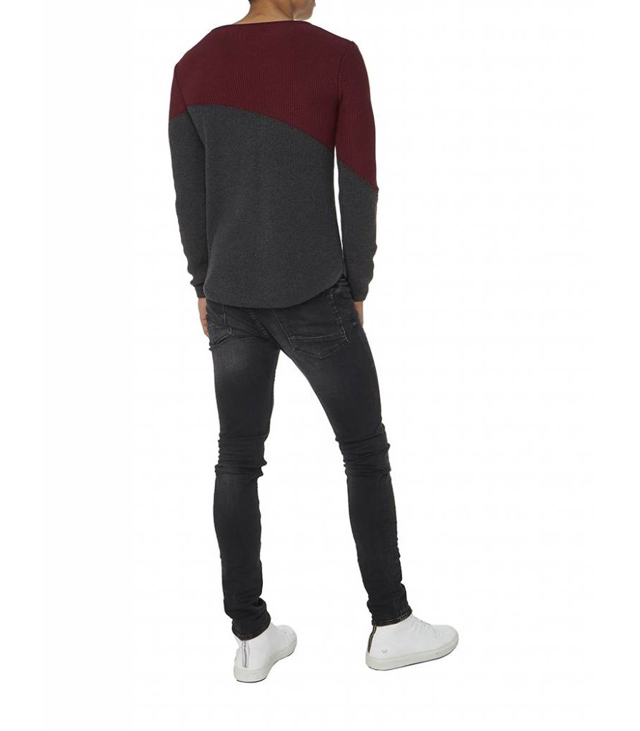 PUREWHITE KNITTED CURVED TWO TONE CREWNECK BORDEAUX