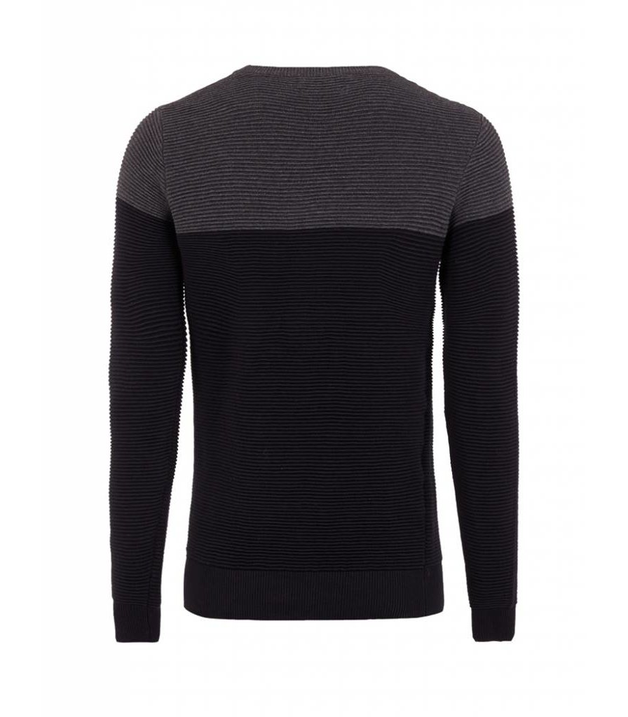 PUREWHITE KNITTED TWO TONE CREWNECK BLACK