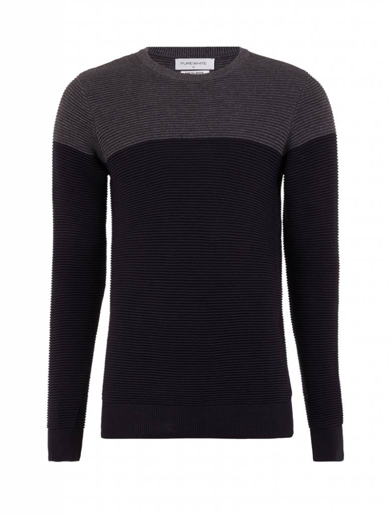 Purewhite Official Online Store Kaos Polos Twotone Navy Blue Knitted Two Tone Crewneck Black