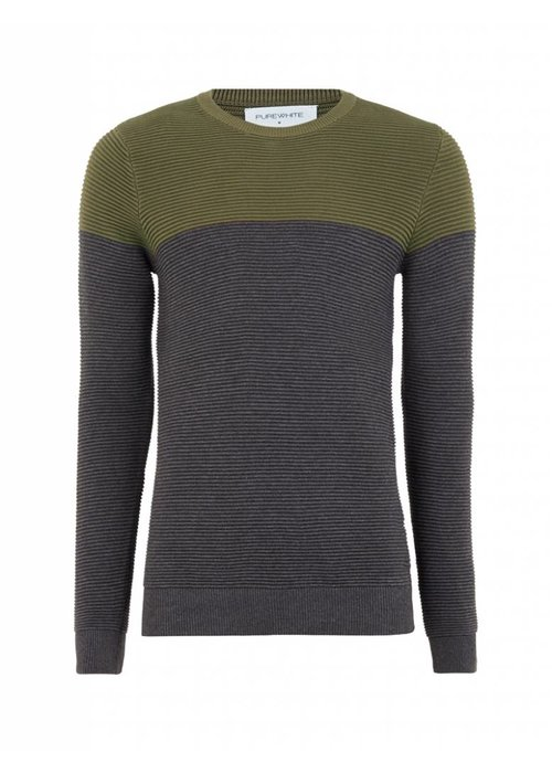 PUREWHITE KNITTED TWO TONE CREWNECK BORDEAUX