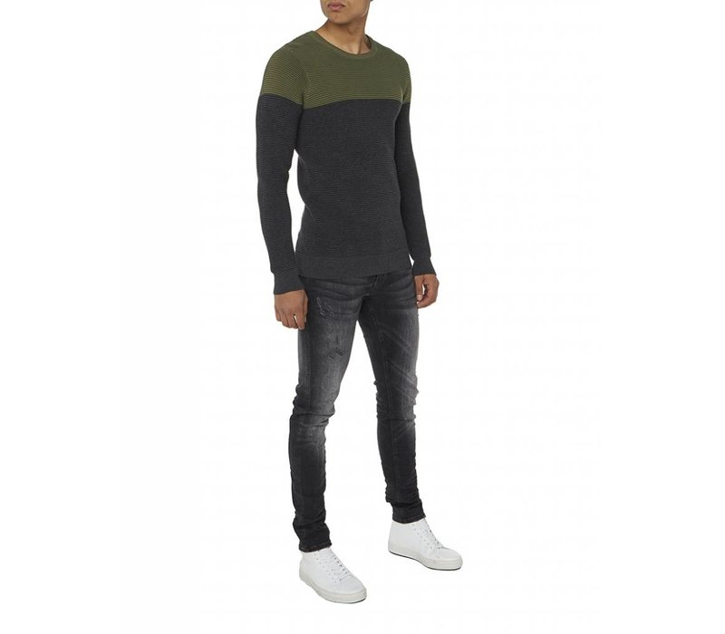 PUREWHITE KNITTED TWO TONE CREWNECK ANTRA MELEE