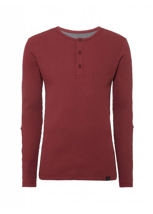 PUREWHITE KNITTED GRANDAD LONG SLEEVE BORDEAUX
