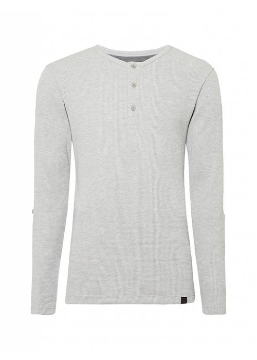 PUREWHITE KNITTED GRANDAD LONG SLEEVE GREY