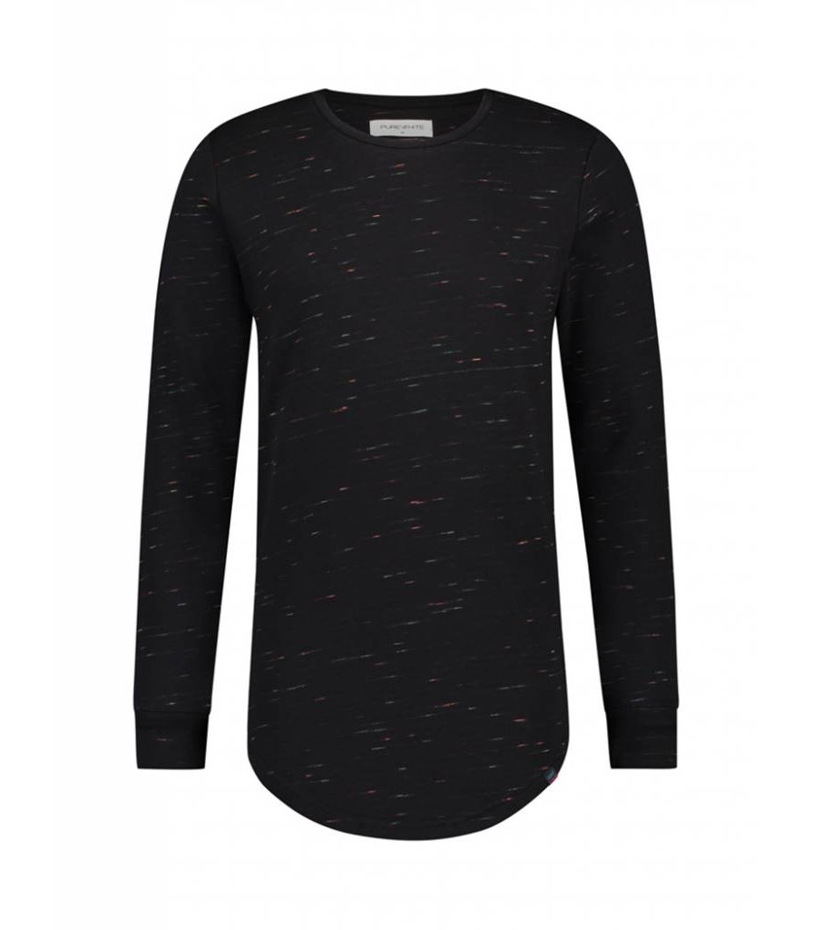 PUREWHITE COLORING MELEE LONG SLEEVE T-SHIRT  BLACK