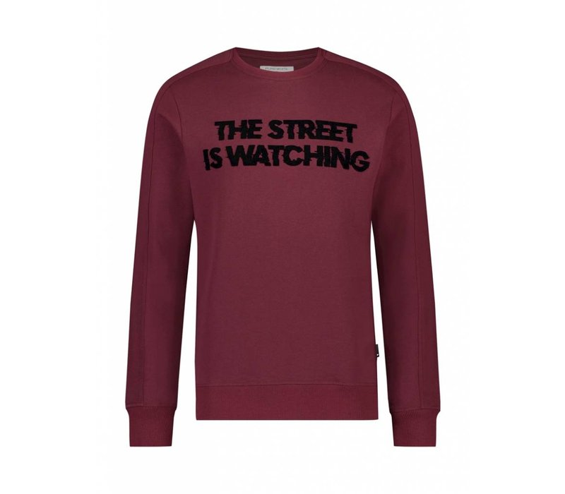 PUREWHITE THE STREET IS WATCHING SWEATER BORDEAUX