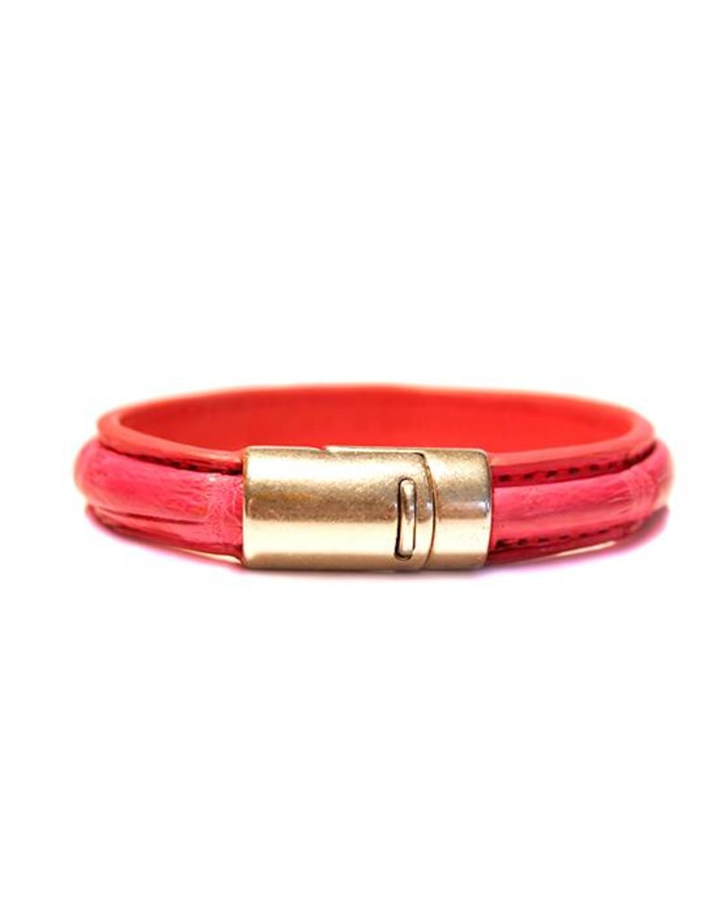 DLHC Croco armband medium fuchsia roze
