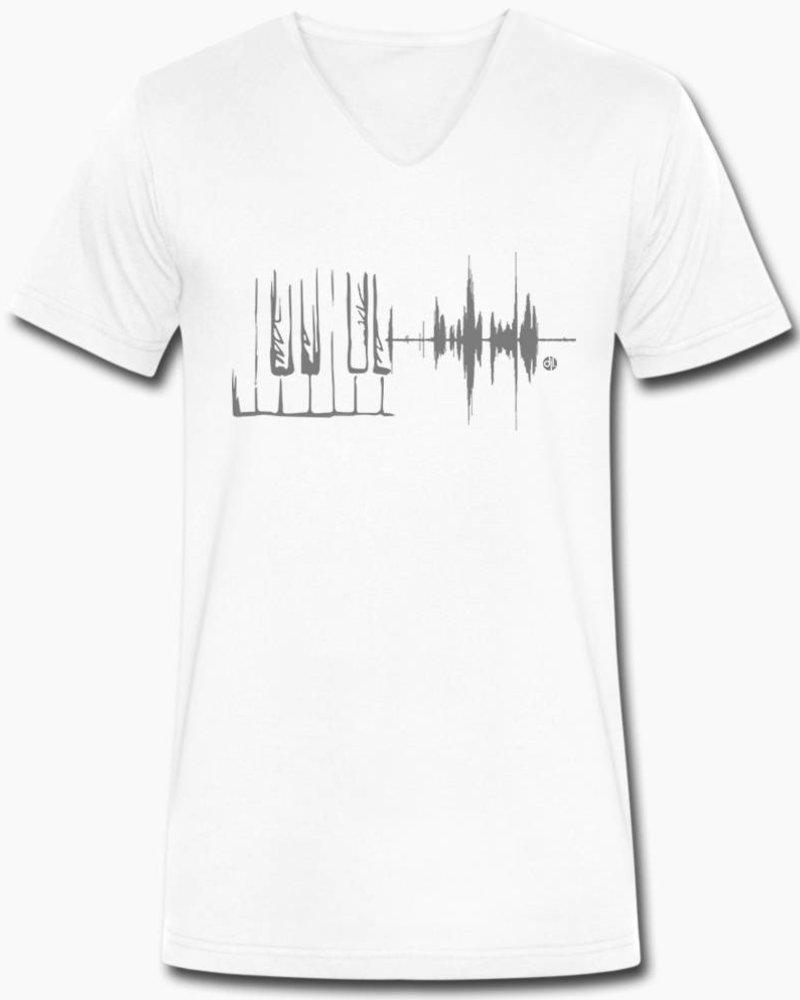 djl. Mannen V-shirt Premium Zwart Piano
