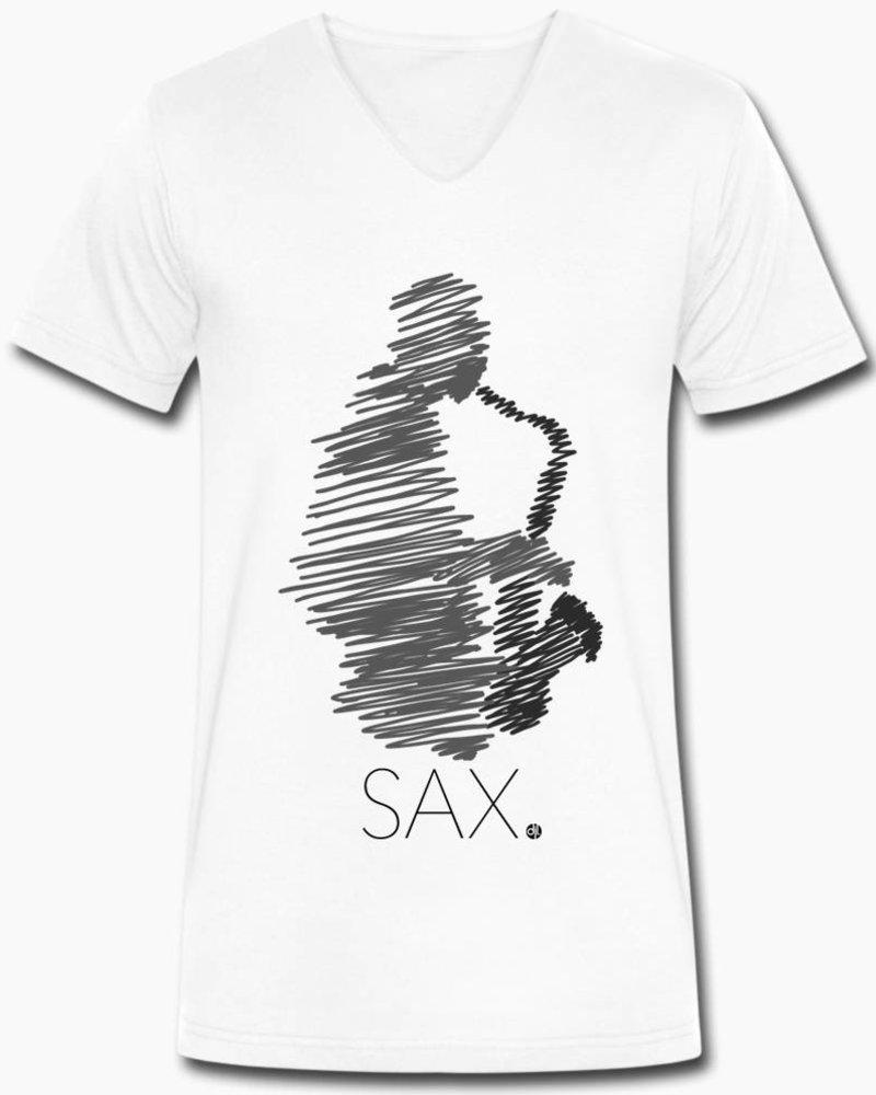 djl. Mannen V-shirt Premium Zwart Sax