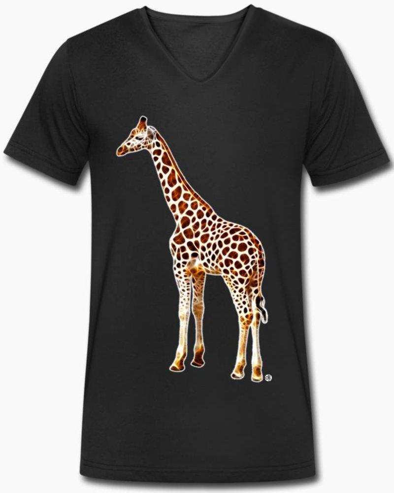 djl. Mannen V-shirt Premium Zwart Giraffe